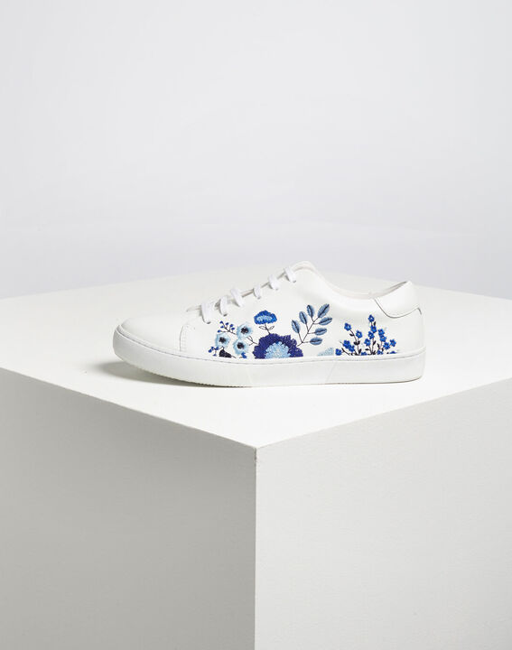 Kristy white leather floral trainers (5) - 1-2-3