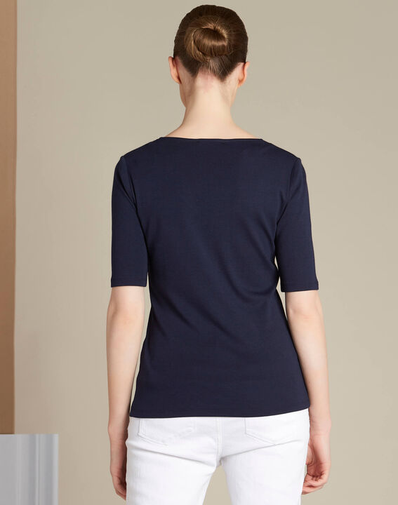 Ecume navy blue T-shirt with eyelet detailing on the shoulders (4) - 1-2-3