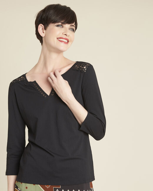 Galia black T-Shirt with lace at the neckline (1) - 1-2-3