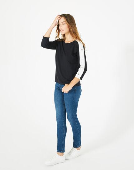 Marineblaues T-Shirt mit Fantasie-Ärmeln Bico (2) - 1-2-3