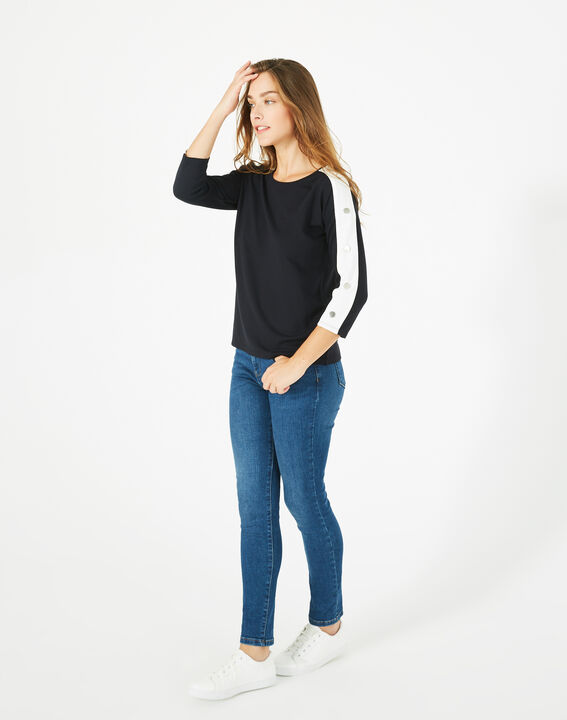 Bico navy blue T-shirt with stylish sleeves (2) - 1-2-3