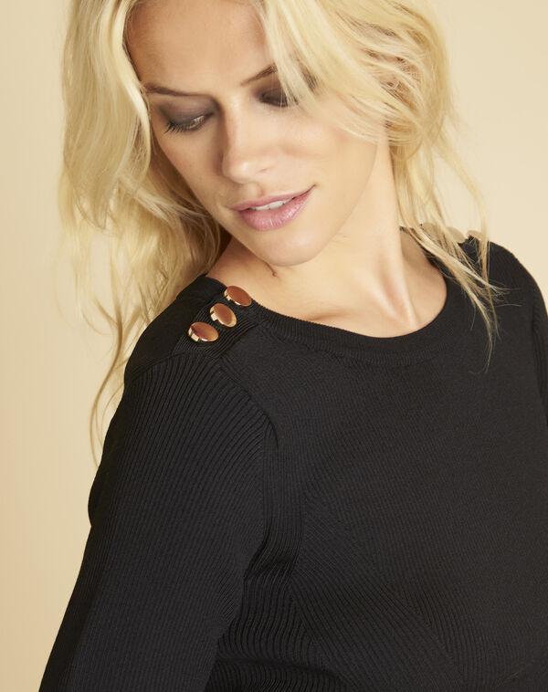 Robe noire en maille boutons épaules Drys (2) - 1-2-3