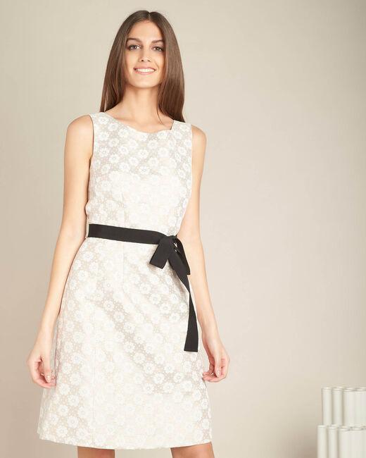 Poederkleurige jurk met jacquardprint Ida (2) - 37653