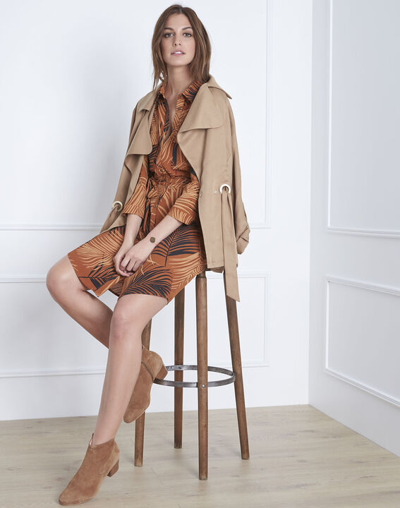 Mahagonibraunes Kleid mit Palmen-Print Lily PhotoZ | 1-2-3