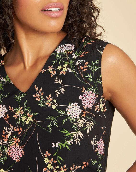 Geptune black print dual-fabric blouse (4) - 1-2-3