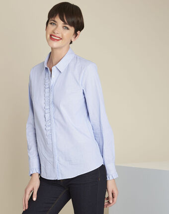 Come blue striped blouse with ruffles sky blue.