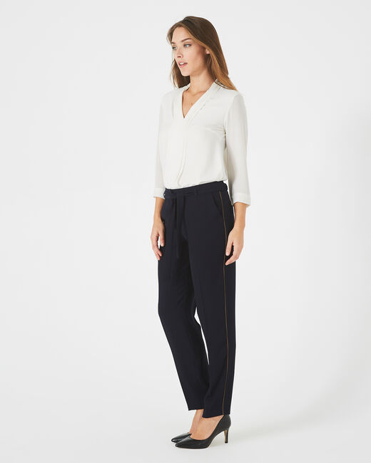 Pantalon bleu marine en crêpe Karoline (1) - 1-2-3