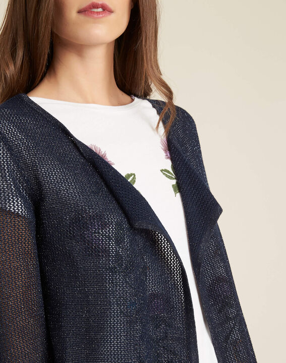 Noisette fine-knit navy cardigan PhotoZ | 1-2-3
