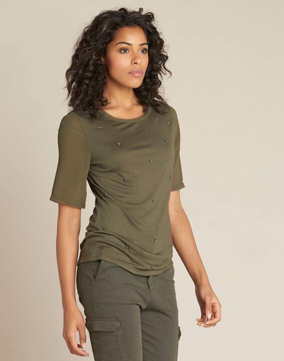 Khakifarbenes T-Shirt mit Perlen-Tupfen und Georgette-Ärmeln Eclipse (3) - 1-2-3