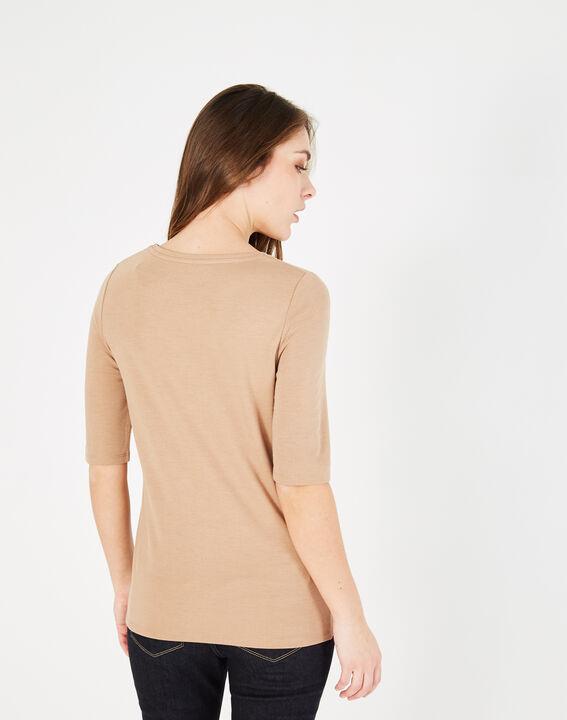 Camelfarbenes T-Shirt mit Spitzeneinsätzen und Ösen Baie (4) - 1-2-3