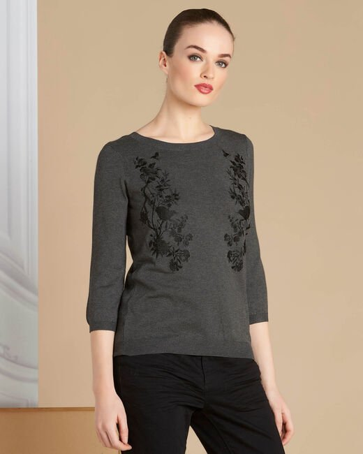 Nouba grey embroidered sweater with bow on the back (2) - 1-2-3