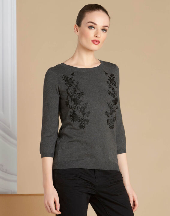 Nouba grey embroidered sweater with bow on the back (3) - 1-2-3