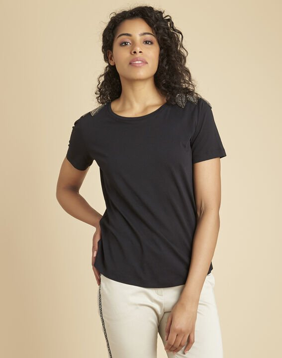 Epique black T-shirt with embroidered detailing on the shoulders PhotoZ | 1-2-3