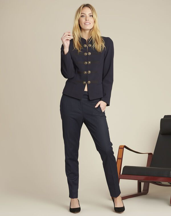 Zip-up tapered navy viscose trousers (2) - 1-2-3