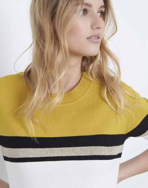 Pull jaune rayé colorblock Absynthe (3) - Maison 123