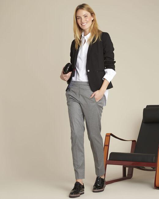 Pantalon cigarette gris zippé en viscose Lara (1) - 1-2-3