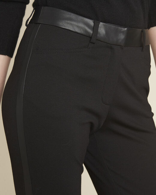 Henax black milano trousers with faux leather band (2) - 1-2-3