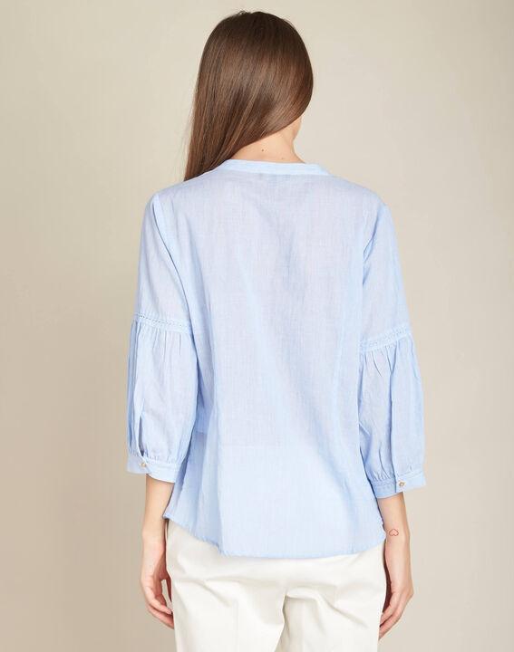 Hemelsblauwe, katoenen blouse met ballonmouwen Gasteria (4) - 37653