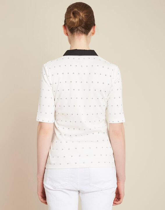 Ecrufarbenes Print-T-Shirt mit Hemdkragen Bowling (4) - 1-2-3