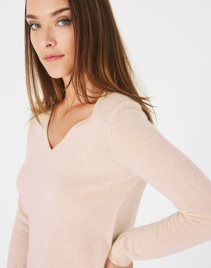 Paquerette powder pink, cashmere sweater with V-neck (2) - 1-2-3