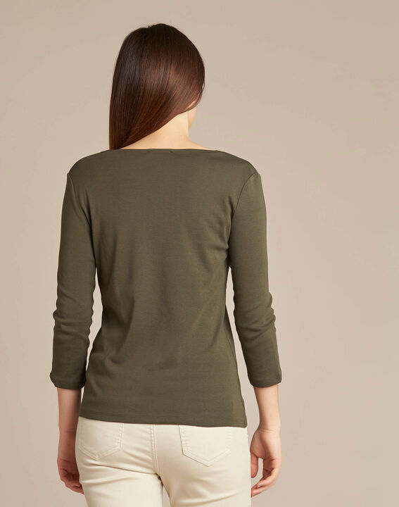Etincellant khaki and gold T-shirt  with 3/4 length sleeves (4) - 1-2-3