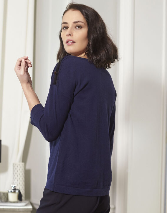 Betty navy blue sweater with decorative detailing on the shoulders (4) - 1-2-3