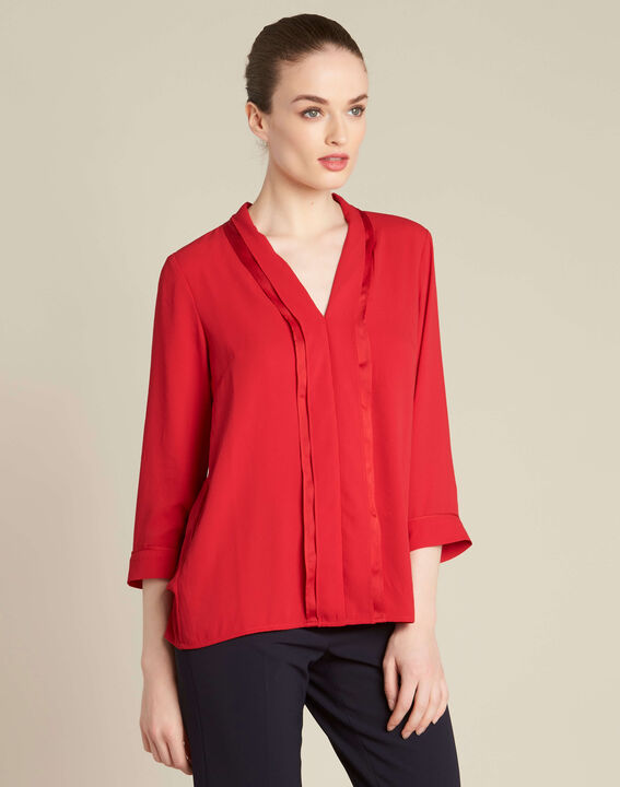 Elea red blouse with romantic neckline (3) - 1-2-3
