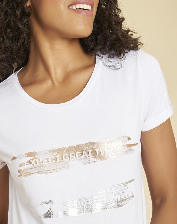 Tee-shirt blanc sérigraphié doré Expect (2) - 1-2-3