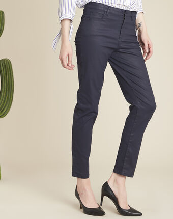 Vendôme 7/8 length navy coated jeans navy.