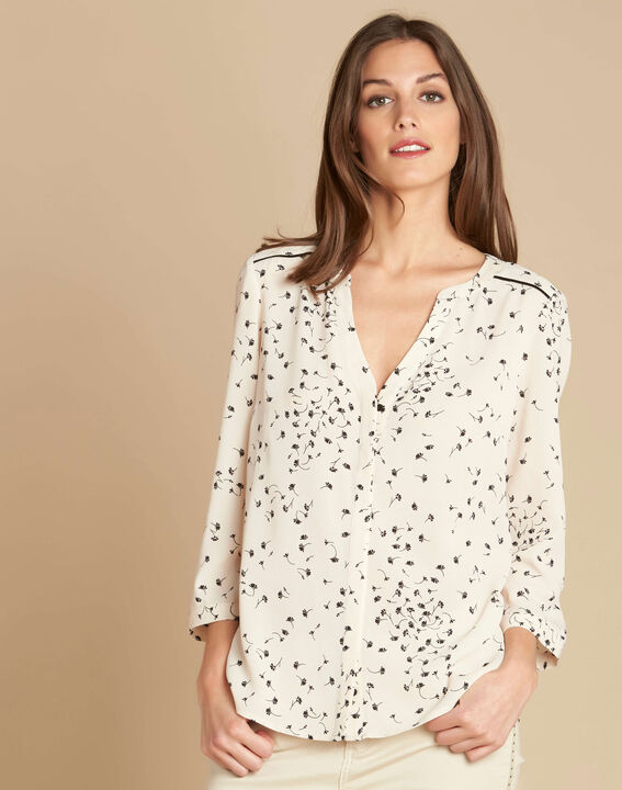 Arletty ecru blouse with gingko print (3) - 1-2-3