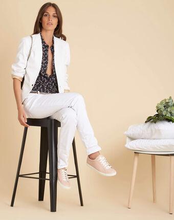 Chrys collarless white jacket white.