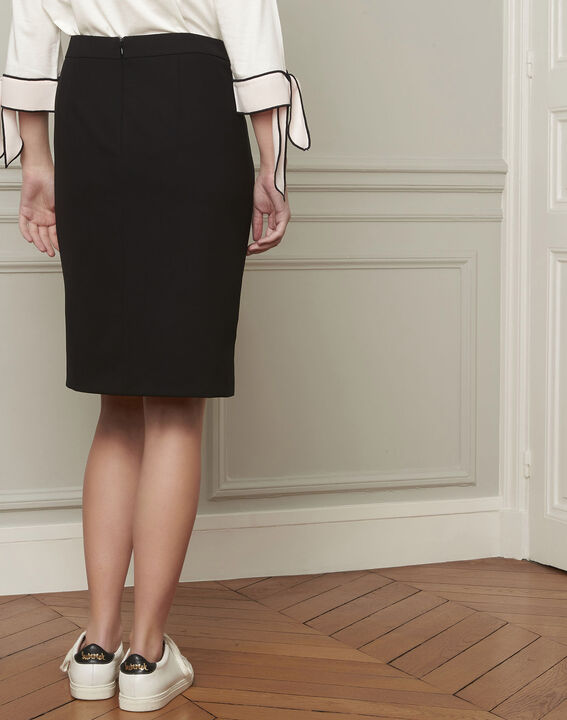 Alex black straight microfibre skirt (3) - Maison 123