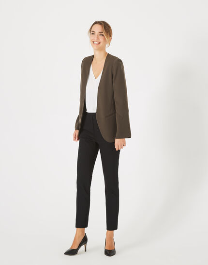 Pauline black, tailored trousers with a buckle (2) - 1-2-3