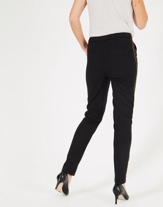 Pantalon de tailleur noir à bandes Voda (4) - 1-2-3