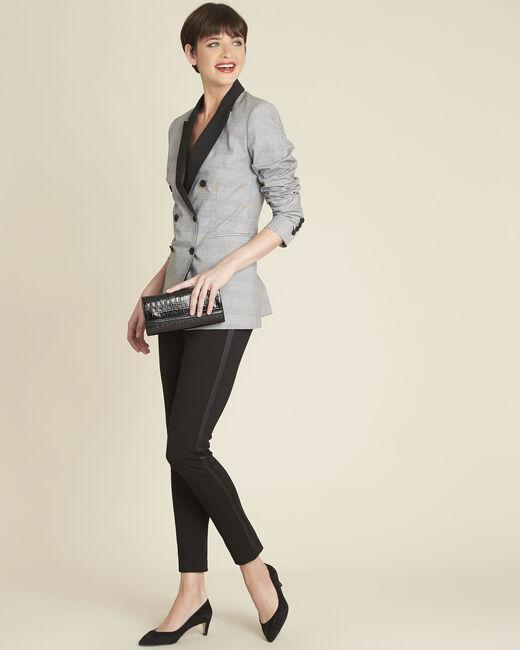 Pantalon noir milano bande faux cuir Henax (1) - 1-2-3