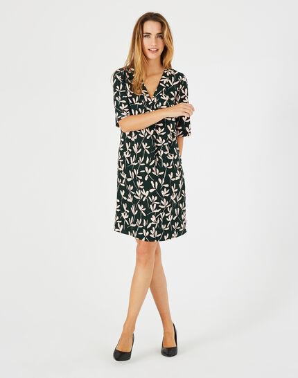 Dowen olive green printed dress <br /> (1) - 1-2-3