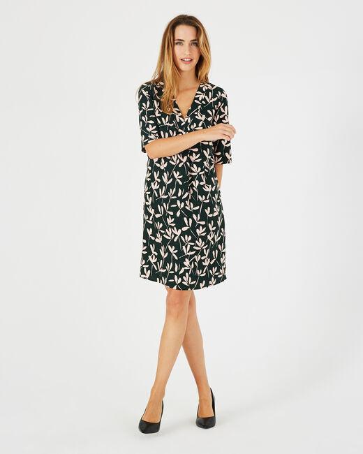 Olivgrünes Print-Kleid Dowen <br /> (2) - 1-2-3