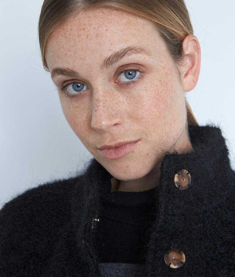 Manteau court en laine texturée noire Lamia PhotoZ | 1-2-3