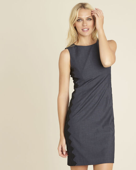 Dynastie navy blue dress with lace insert at the side (2) - 1-2-3