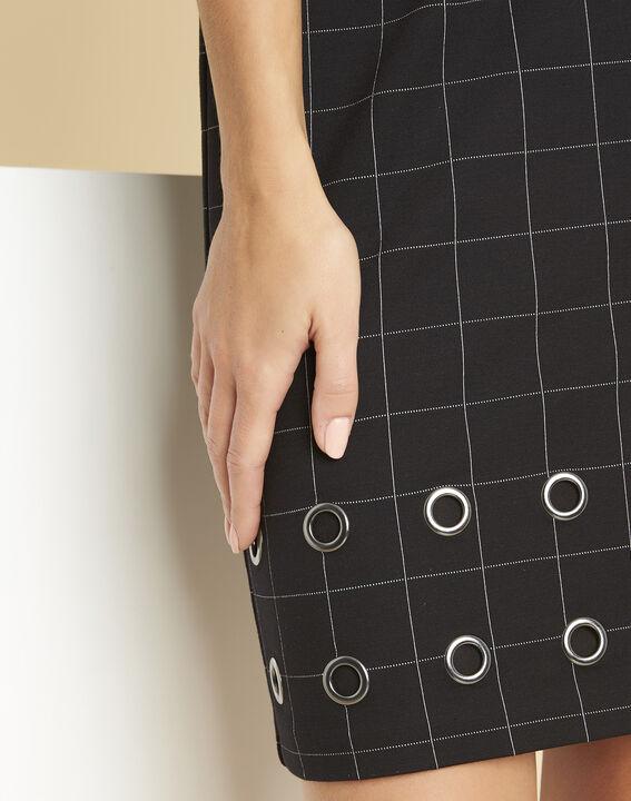 Schwarzes Karo-Kleid mit Ösen Davina (2) - 1-2-3