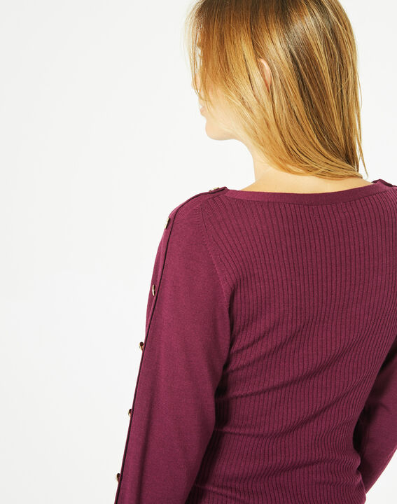 Philo woolen blackcurrant sweater with stylish sleeves (5) - 1-2-3