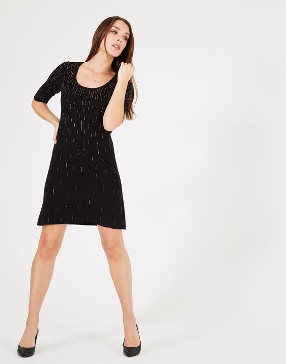 Schwarzes Kleid mit goldenem Strass Princesse PhotoZ | 1-2-3