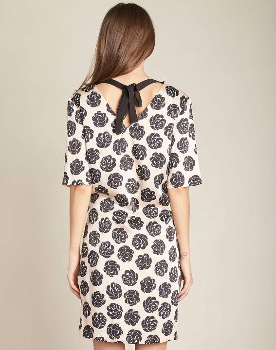Nudefarbenes Kleid mit Blumenprint Ideal (4) - 1-2-3