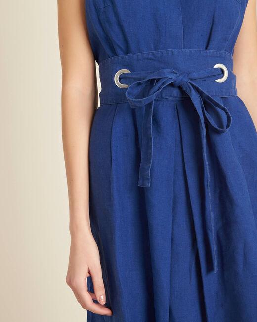 Robe bleue en lin à ceinture Poppy (1) - 1-2-3