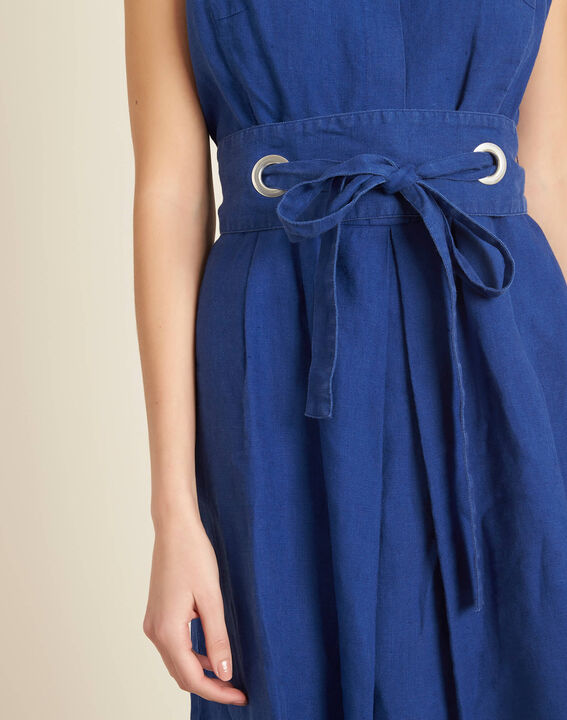 Poppy blue linen dress with belt PhotoZ | 1-2-3