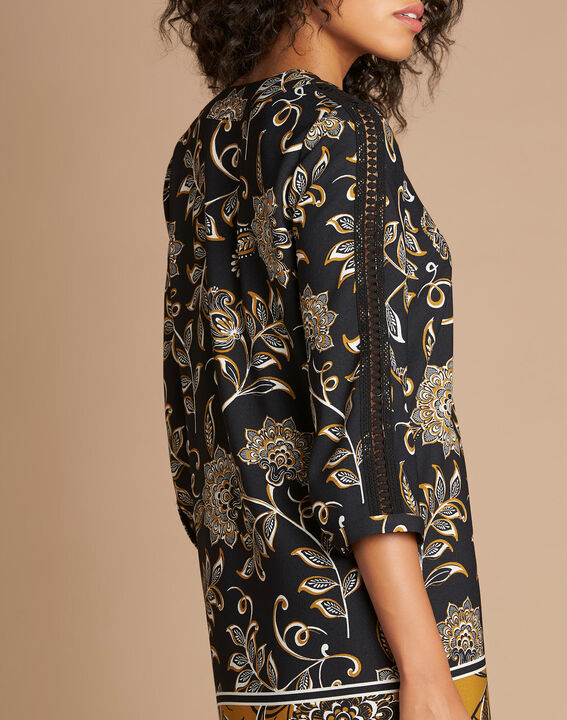 Robe imprimé fleuri camel Petunia (4) - 1-2-3