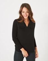 Leden black dual-fabric t-shirt black.