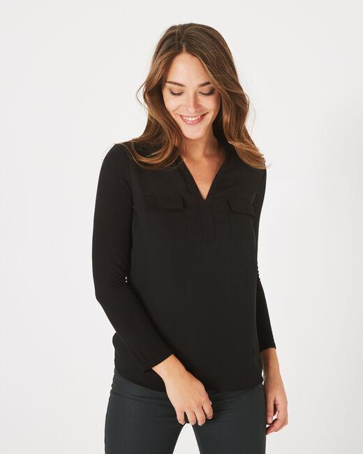 Tee-shirt noir bi-matière Leden (2) - 1-2-3
