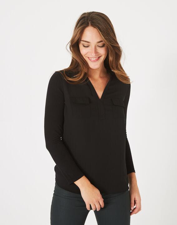 Schwarzes T-Shirt im Materialmix Leden (2) - 1-2-3