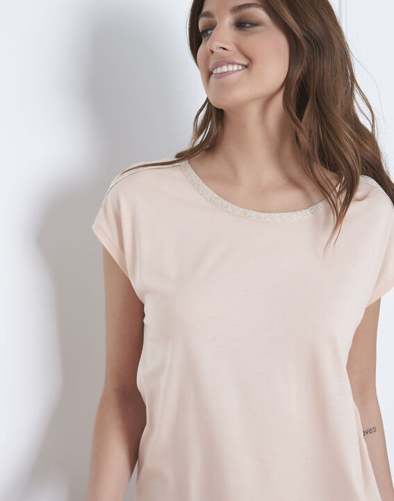 Tee-shirt rose finitions lurex Plume (3) - Maison 123